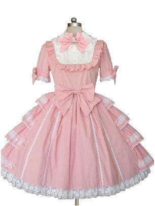 Lolita pink doll collar bow lace Cotton Princess Cake Skirt