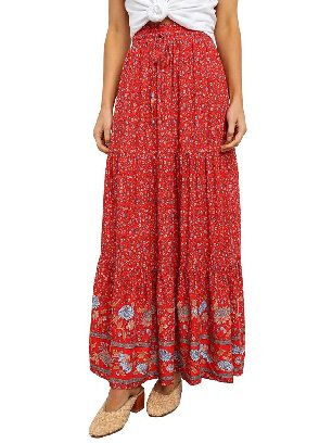 Supply Red Boho Floral Print Elastic Pleated Cake Maxi Skirt