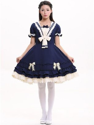 Rhine navy princess dress Sweet Lolita Short Sleeve Dress