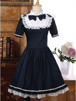 Navy Blue Princess dress palace Short Sleeve retro Sweet lolita dress