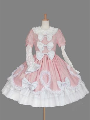 Pink White princess gorgeous noble bow Sweet Lolita Dress