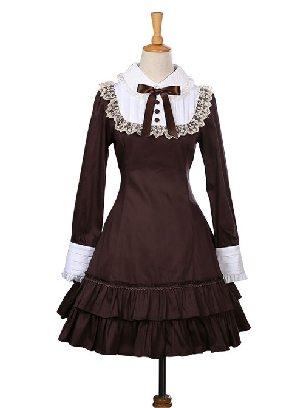 Retro Bowknot OP Dress Ruffles Long Sleeves Lace Up Lolita Dress
