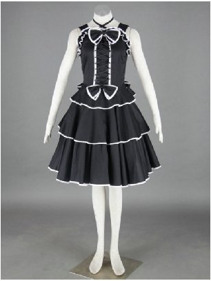 Gothic Black Dress White border Cotton Sleeveless Lolita Dress