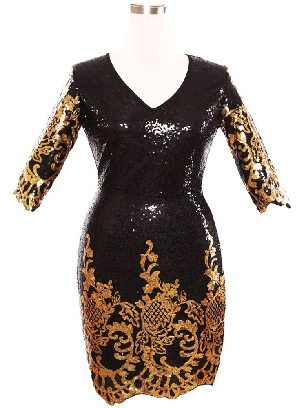 Supply Victorian Gold Sequins Calf-Length Sleeve Bodycon Slim Dress