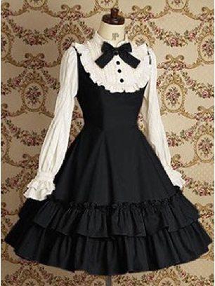 Supply Black Long Sleeves Ruffle Slim Cotton Classic Mary School Lolita Dress