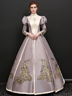 As shown Elegant Stand-up collar palace dress Puff sleeves Snow White princess Lolita Prom Dress