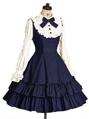Dark Blue Long Sleeves Ruffle Slim Cotton Classic Mary School Lolita Dress