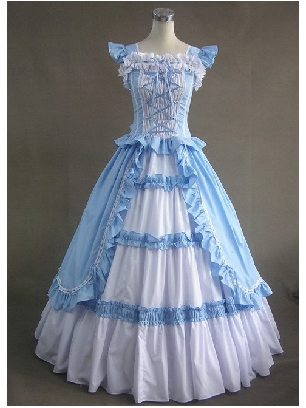 Blue White Princess Dress Palace Gothic Retro Cotton Lolita Prom Dress