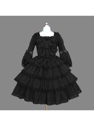 black cotton Lolita Gothic long-sleeved ruffled jumpsuit palace Lolita Dresses