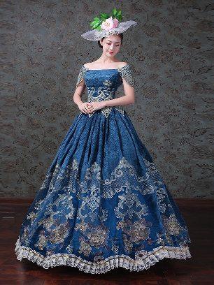 Blue Classical Palace Dress Dinner Party Dress Lace hem Prom Dress
