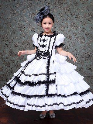 Children princess dress Bowknot embroidered Lace hem Lolita Prom Dress