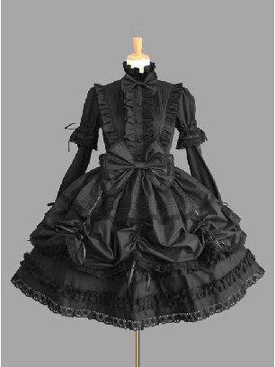 Supply Lolita Princess Standing Collar Bowknot Retro Lace Gothic Lolita Long Sleeve Dress