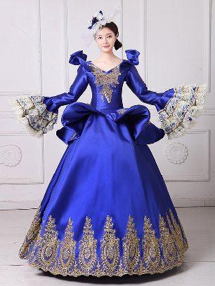Palace Dress embroidered Trumpet Sleeve Lace hem Prom Long Dress