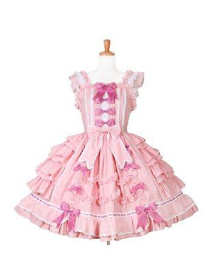 Lolita Pink Flying Sleeve Ruffled Cake Bow Tutu JSK Sweet Lolita Dress