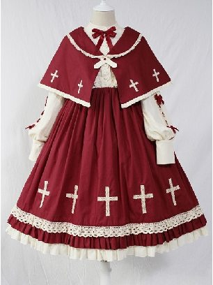Cross Choir OP Dress Long Sleeve Sweet Lolita with Cloak Set