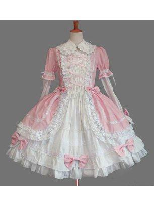 Gothic Lapel Sleeve One-piece Cotton Sweet Lolita Dresses Two-piece Set