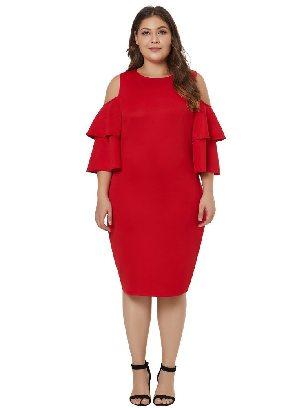 Ruffled Five-quarter Sleeves Off-shoulder Plus Size Dress