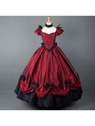 Burgundy Gothic Lolita Prom Dresses with ten Bows