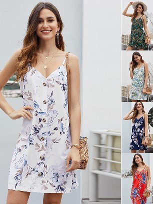 Summer V-neck Print Floral Pattern Buttoned Slip Cami Dress