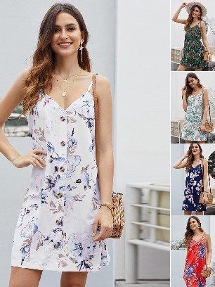 Supply Summer V-neck Print Floral Pattern Buttoned Slip Cami Dress