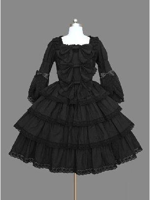Black Palace style layered lace Cotton Gothic Lolita Dress
