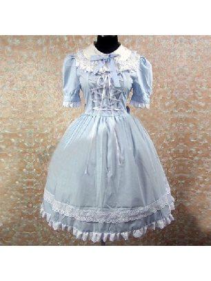 Lolita Gothic Lapel Short Sleeve Skirt Sky Blue Cotton with panties