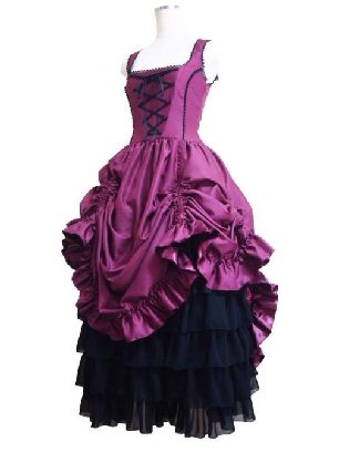 Retro gothic lolita puffy long Prom Sling Dress