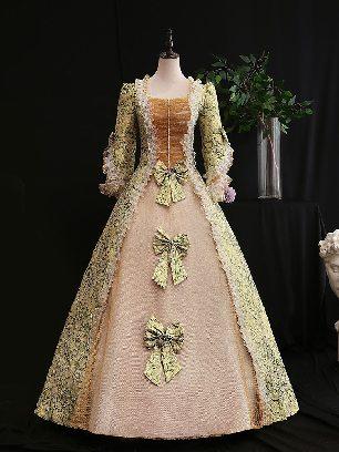 Light green retro princess dress Trumpet Sleeves Three bows embroidered palace Prom Dress