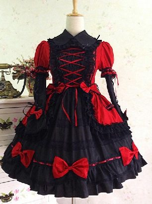 Red black Gothic Lapel Sleeve One-piece Cotton Sweet Lolita Dresses Two-piece Set