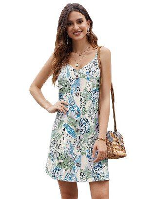 Sky Blue Summer V-neck Print Floral Pattern Buttoned Slip Cami Dress