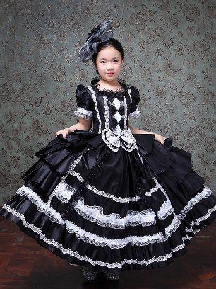 Black Children princess dress Bowknot embroidered Lace hem Lolita Prom Dress