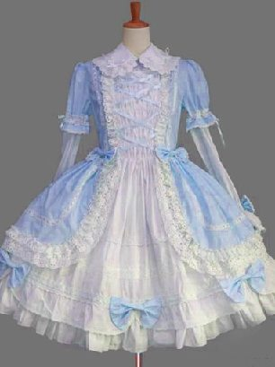 Sky Blue Gothic Lapel Sleeve One-piece Cotton Sweet Lolita Dresses Two-piece Set