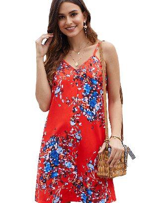 Orange Summer V-neck Print Floral Pattern Buttoned Slip Cami Dress