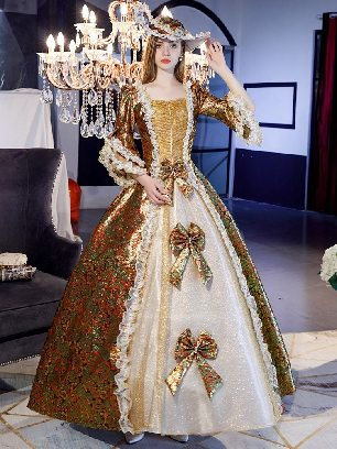 Coffee gold retro princess dress Trumpet Sleeves Three bows embroidered palace Prom Dress