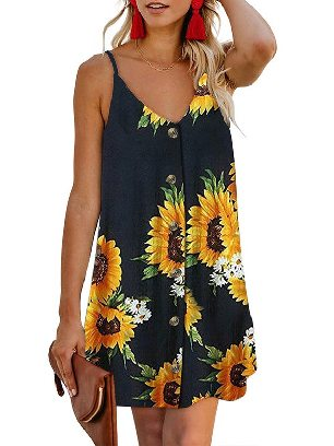 Black (flower) Summer V-neck Print Floral Pattern Buttoned Slip Cami Dress