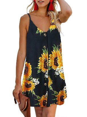 Black (flower) Summer V-neck Print Floral Pattern Buttoned Slip Cami Dress
