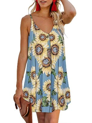 Gray (flower) Summer V-neck Print Floral Pattern Buttoned Slip Cami Dress