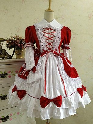 Red + white Gothic Lapel Sleeve One-piece Cotton Sweet Lolita Dresses Two-piece Set