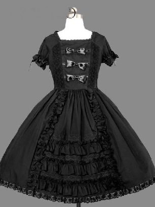 Black Gothic cake Dress Bowknot one-piece palace Sweet Lolita Dresses