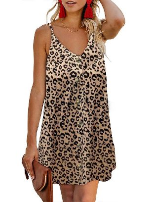 Leopard print Summer V-neck Print Floral Pattern Buttoned Slip Cami Dress