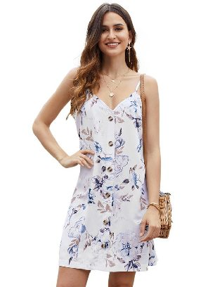White Summer V-neck Print Floral Pattern Buttoned Slip Cami Dress