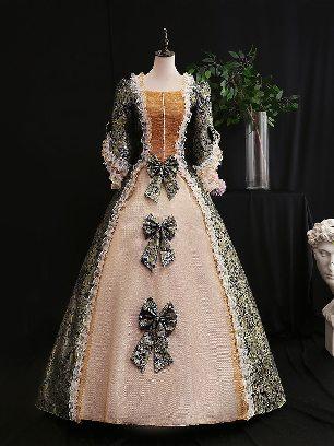 Royal blue retro princess dress Trumpet Sleeves Three bows embroidered palace Prom Dress