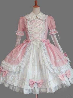 Pink Gothic Lapel Sleeve One-piece Cotton Sweet Lolita Dresses Two-piece Set