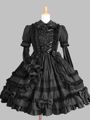 Black Gothic Lapel Sleeve One-piece Cotton Sweet Lolita Dresses Two-piece Set