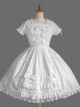 White Gothic cake Dress Bowknot one-piece palace Sweet Lolita Dresses