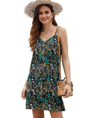 Black Summer V-neck Print Floral Pattern Buttoned Slip Cami Dress