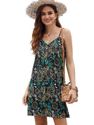 Black Summer V-neck Print Floral Pattern Buttoned Slip Cami Dress