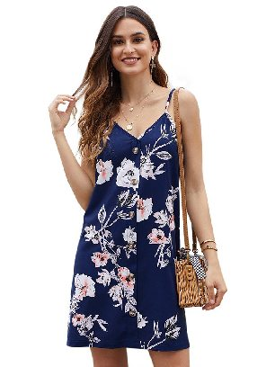 Blue Summer V-neck Print Floral Pattern Buttoned Slip Cami Dress