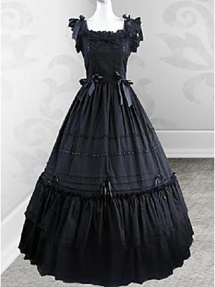 Retro Victorian Gothic Fly Sleeves lolita slim Long Dress