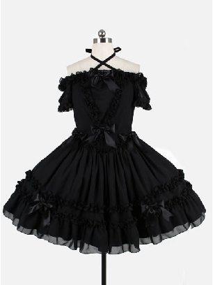Chiffon Cross belt Off-the-shoulder One-piece Short Skirt Classic Lolita Dress